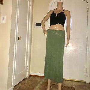 Dresses & Skirts - Women's Olive Green Ankle Length Maxi Skirt